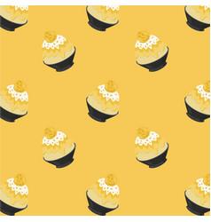 mango bingsu cartoon pattern on yellow bg vector image
