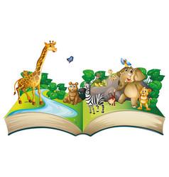 Many animals on big book vector