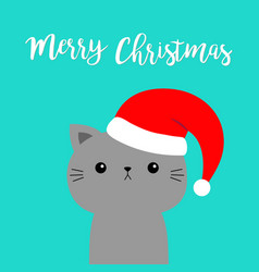 merry christmas cat gray face in red santa hat vector image