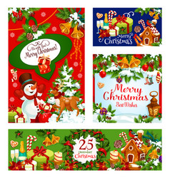 merry christmas celebration greeting cards vector image