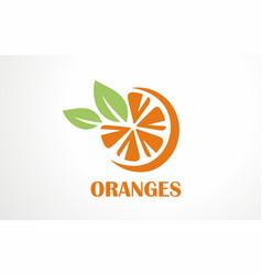 orange logo fresh juice drink citrus vector image