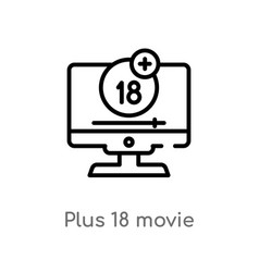 Outline plus 18 movie icon isolated black simple vector