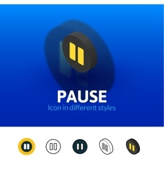 Pause icon in different style vector image