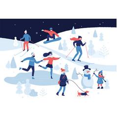 people having winter activities in park skiing vector image
