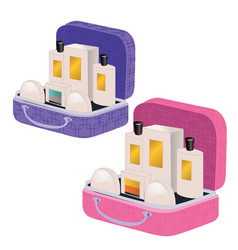 Pink and purple suitcases with perfume and vector