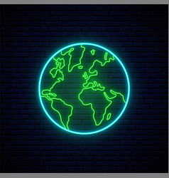 Planet earth neon sign shiny planet earth vector