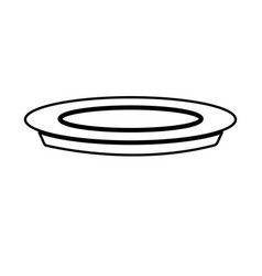 Plate dish food cooking image line vector