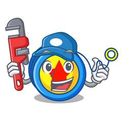 Plumber yoyo mascot cartoon style vector