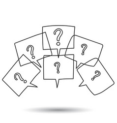Question marks in thought bubbles hand drawn line vector