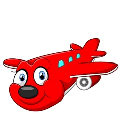 Red cartoon airplane vector