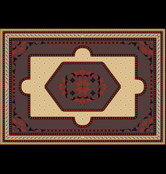 Rug with ethnic oriental ornament in brownred vector
