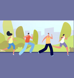 run in park active people crowd flat man woman vector image