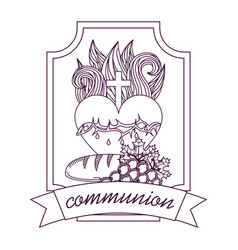 Sacred heart of jesus communion bread and grape vector