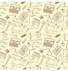 Seamless pattern of sewing tools icons vector image