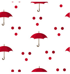 seamless pattern with red umbrellas and circles vector image