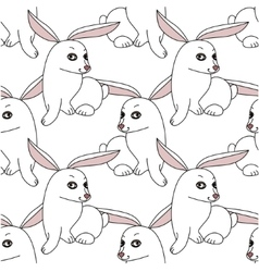 Seamless pattern with stylized funny rabbits vector