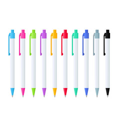 Set automatic ballpoint pens in white case vector