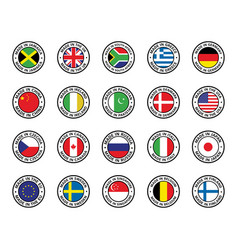 set flat icon flags vector image