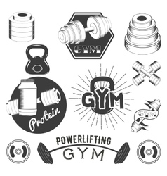 Set gym labels in retro style sport fitness vector