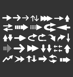 set of arrow shapes isolated on black vector image