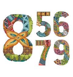 set of numbers five six seven eight nine vector image vector image