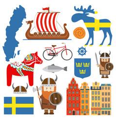 Set with design elements symbols sweden and vector