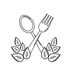 silhouette fork and spoon kitchen tools with vector image