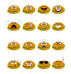 sixteen hamburgers emojis vector image