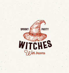 spooky party witches with brooms halloween logo or vector image