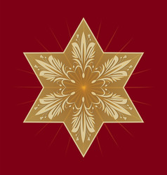 star of david on dark red background golden david vector image