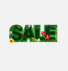summer sale design with tropical leaves on light vector image