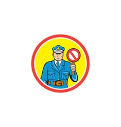 Traffic Policeman Stop Hand Signal Cartoon vector