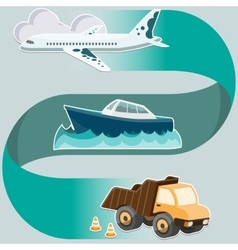 Transport system concept - airplane ship truck vector image