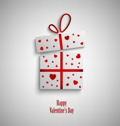 Valentine card with gift and red hearts vector