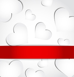 Valentines day invitation with paper hearts vector image