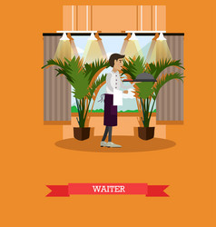 waiter serving dish in flat vector image vector image