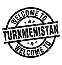 welcome to turkmenistan black stamp vector image