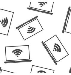 Wi-fi icon wi-fi on computer seamless pattern on vector