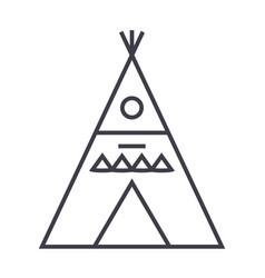 Wigwam line icon sign vector