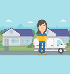 Woman delivering box vector