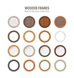 Wooden Round Frames Set vector