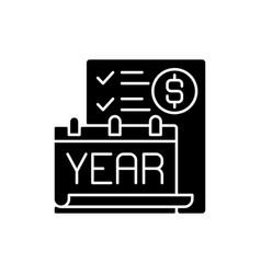 year end closing procedure black glyph icon vector image