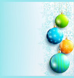 blue new year and christmas background with balls vector image vector image