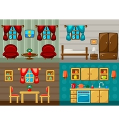 Four rooms vector image vector image