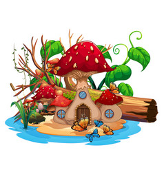 mushroom house in the pond vector image
