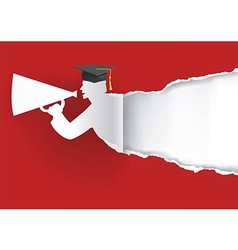 Paper graduate ripping paper vector image vector image