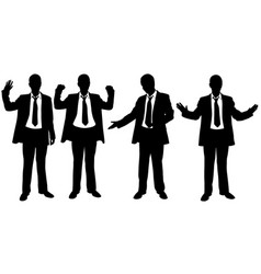 set of businessmen with hand gestures vector image