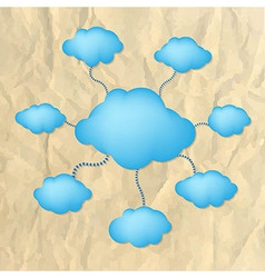 Crushed Paper With Blue Clouds vector image vector image