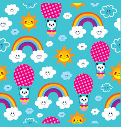 cute baby panda bears seamless pattern vector image