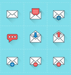 Email icons icon set in flat design style For web vector image vector image